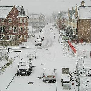 A snowed-in street in Headingley, Leeds