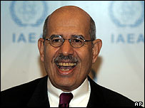 Mohamed ElBaradei speaking after news of the prize