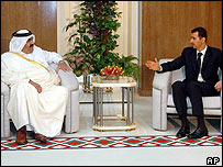 Emir of Qatar during talks with President Assad