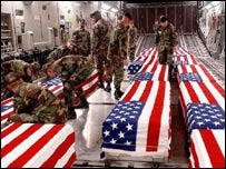 The coffins of US soldiers killed in Iraq