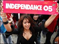 Lebanese girl at street protest