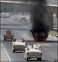 Blast under a bridge in Baghdad
