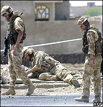 British troops comb blast scene near Basra