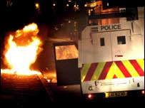 Police came under petrol bomb attack