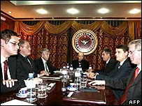 Kosovo President Ibrahim Rugova (C), surrounded by Kosovo ethnic Albanian leaders sit at the negociation