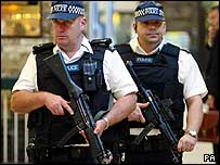 Armed police on patrol at London's King's Cross station