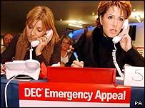 Celebrities Michelle Collins and Natasha Kaplinsky taking tsunami donations
