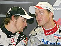 Jenson Button (left) and Ralf Schumacher