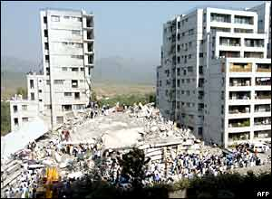 A collapsed tower block in Islamabad, Pakistan