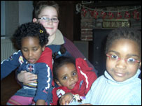 The Collet children: Alina, right, and Marvin, holding Hani and Medhanit