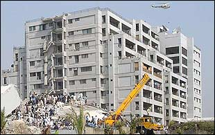 Buildings in Islamabad collapsed in the earthquake. Photo: Awais Yaqub