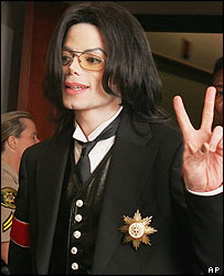 Michael Jackson wears the Golden Medal of Honour for Services to Vienna