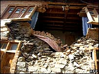 A damaged house in Sopore north of Srinagar