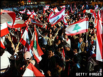 Protestors calling for withdrawal of Syrian troops from Lebanon.