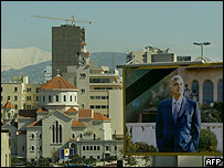 A building in downtown Beirut featuring a picture of Rafik Hariri, the slain former prime minister