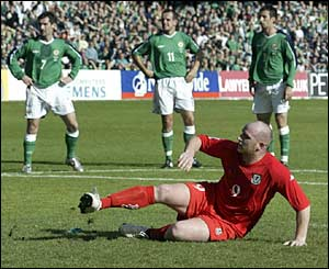 John Hartson misses a penalty for Wales against Northern Ireland