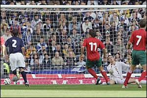 Vitali Kutuzov scores for Belarus against Scotland