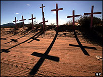 Crosses in memory of murdered women in the town of Anapra, on the outskirts of Ciudad Juarez