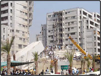 Collapsed Margala Towers in Islamabad. Sent in by Awais Yaqub