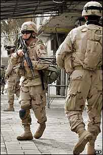 US troops on patrol near the Green Zone in Baghdad