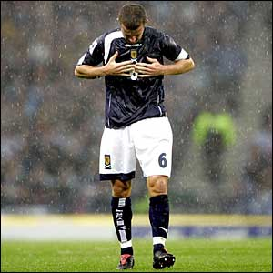 Scottish captain Barry Ferguson leaves the pitch after his side lose 0-1 to Belarus