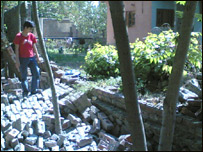 Reader Jibran Bashir from Kashmir sent in this photo the collapsed  boundary walls of his house