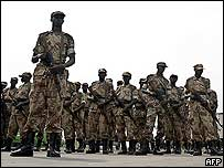 African Union troops mustering in Rwanda before their mission to Darfur