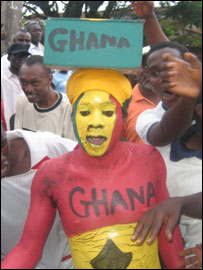 Fans celebrating Ghana's World Cup qualification