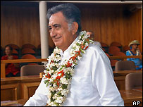 Oscar Temaru in Tahiti, Monday Feb 28, 2005