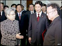 China's Vice-Premier Wu Yi is welcomed by North Korea's Kim Jong-il