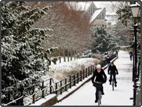 Students cycle through the snow in the College Backs, Cambridge
