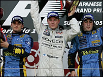 Giancarlo Fisichella (left), Kimi Raikkonen (centre) and Fernando Alonso (right)