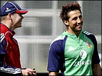 Sir Clive Woodward (left) and Gavin Henson in training for the first Test in New Zealand
