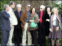 left to right) Michael Colgan, Alan Stanford, Michael Gambon, Jeremy Irons, Penelope Wilton, Derek Jacobi, Donna Dent and Sinead Cusack