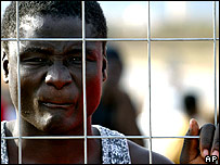 Migrant at a holding centre in Melilla