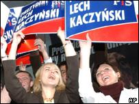 Kaczynski supporters in Warsaw