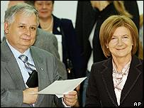 Lech Kaczynski with wife Maria