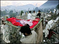 Villagers carry away an injured survivor as volunteers dig out dead bodies from a school in Balakot, Pakistan