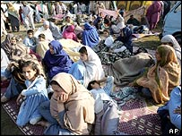 Earthquake survivors in Muzaffarabad seek shelter in the city's sports stadium