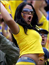 An Ecuador fan celebrates her side's qualification for the 2006 World Cup