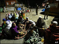 People on streets in Indian Kashmir