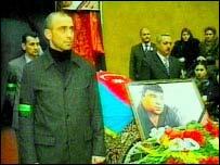 Elmar Huseynov's coffin