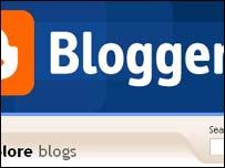 Screengrab of Blogger homepage, Google