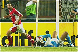 David James is left grounded after his mistake gifts Austria an equaliser to make it 2-2