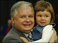 Lech Kaczynski with granddaughter Ewa