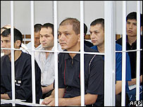 Defendants charged with terrorism sit in the supreme court of Uzbekistan in Tashkent, 20 September 2005.