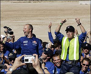 Stanford Racing Team's leaders Sebastian Thrun (left) and Mike Montemerlo (right)