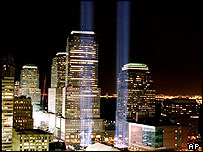 Light tribute to the 11 twin towers
