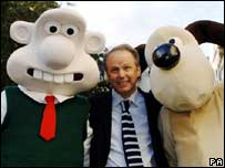 Wallace and Gromit creator Nick Park  with models of the claymation duo