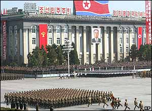 North Korean soldiers parade in Pyongyang to mark the 60th founding anniversary of the ruling Workers' Party of Korea, Monday, Oct. 10, 2005.